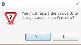 restarting deluge ui to change the classic mode