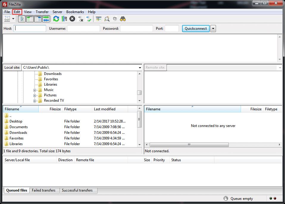 FileZilla dashboard