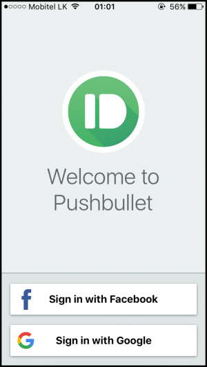 Pushbullet Signup Mobile