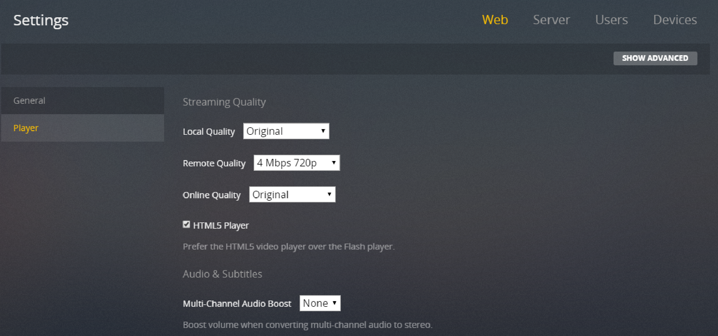 Another way to change streaming quality You can predefine a streaming quality by forcing the player s local remote quality from the Plex server