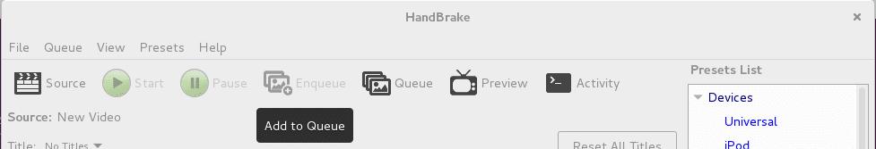 Handbrake add to queue