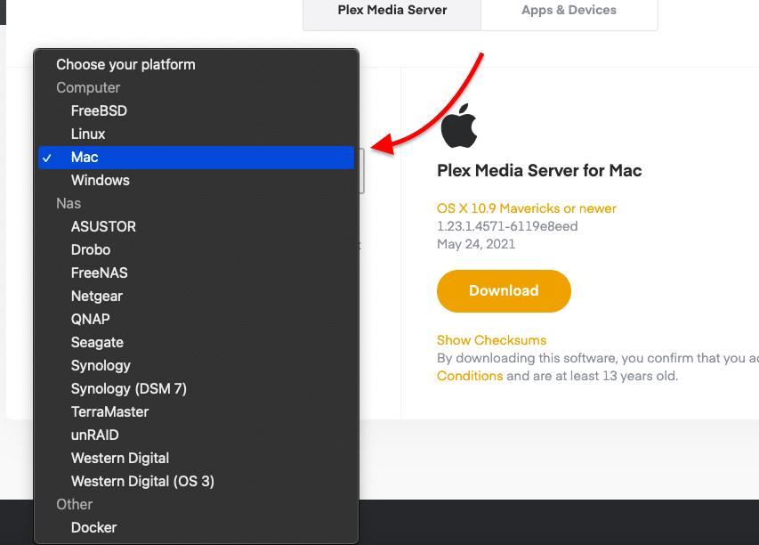 Plex Media Server for macOS.