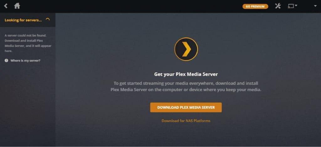 Plex Media Server user Interface.