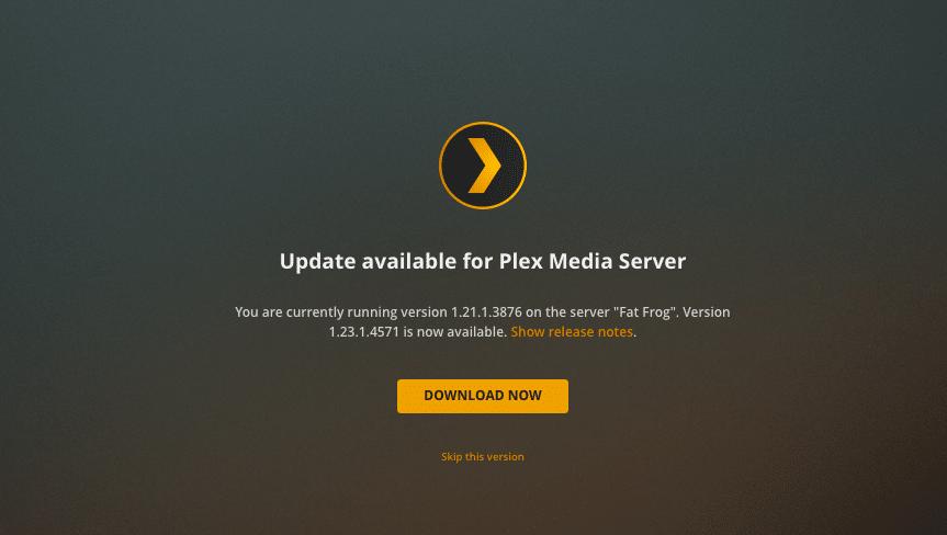 Updating Plex Media Server.