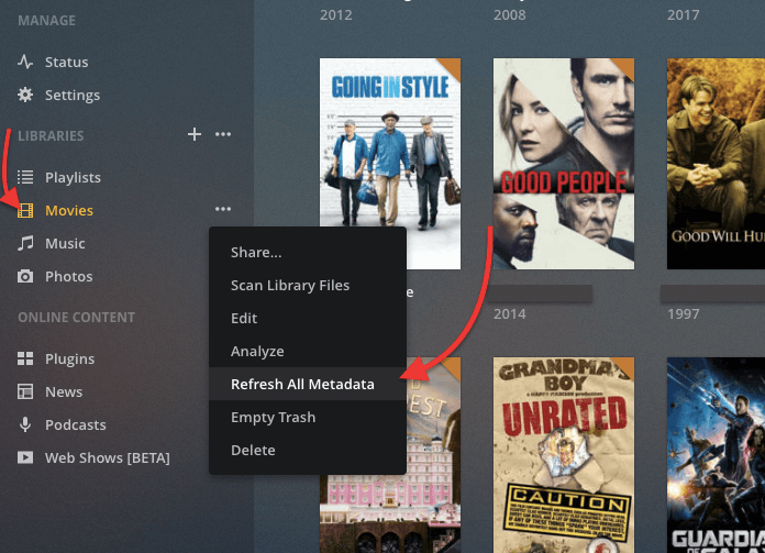 updating metadata in plex