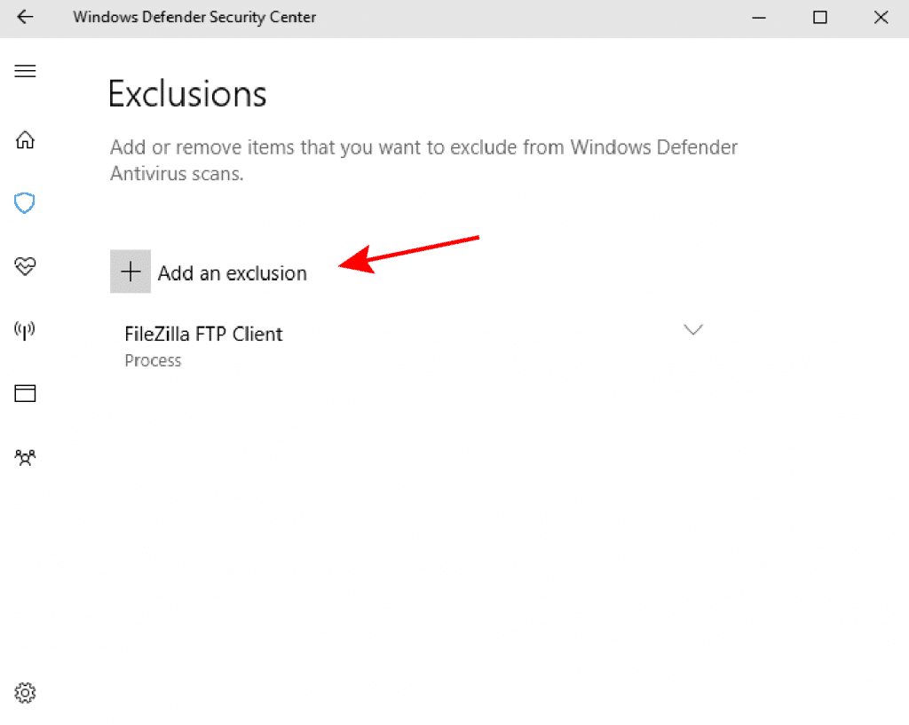 Add Exclusions Windows Defender.