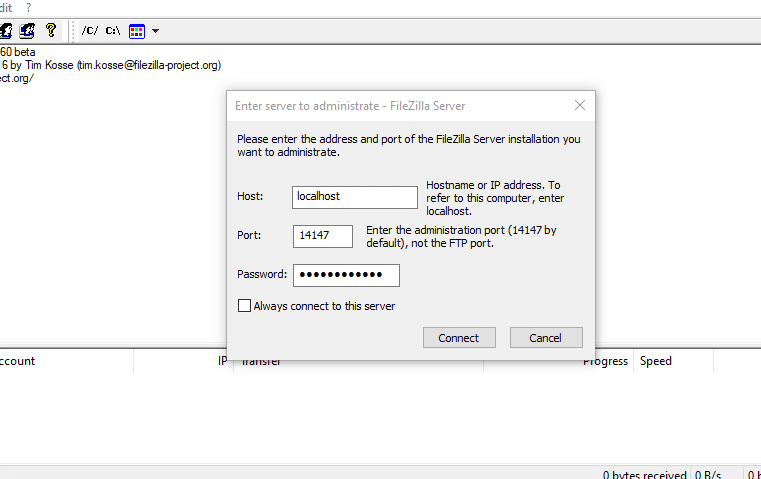 FileZilla FTP Server.