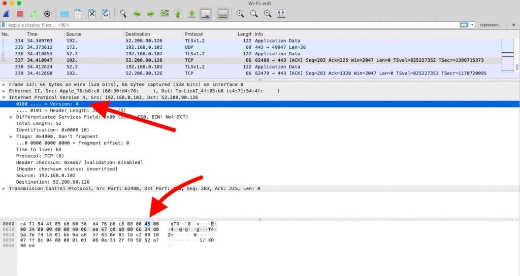 Reading an IPv4 header in Wireshark