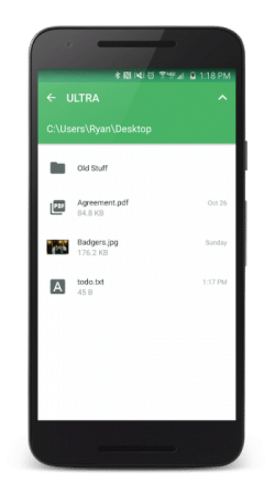 How PushBullet remote file access looks on android device