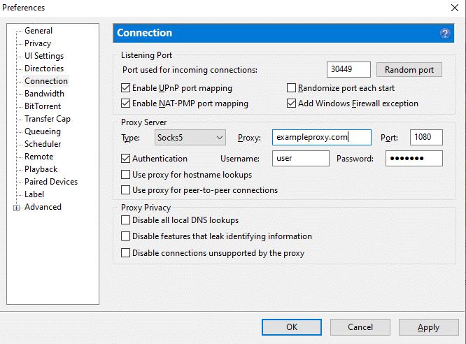 Setting up SOCKS5 proxy in uTorrent.