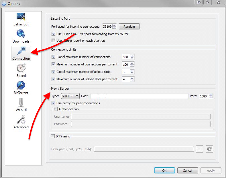Setting up a proxy in qBittorrent client.